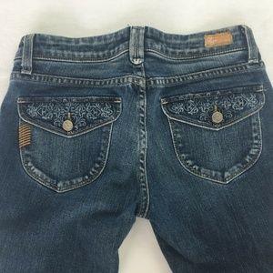 PAIGE Pico Low Rise Boot Cut Blue Jeans Size 27